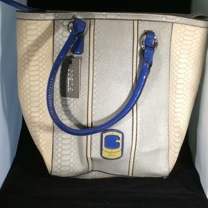 Large bag by guess grey multi colored with blue st